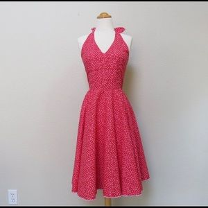 Red 1950's Style Swing Dress